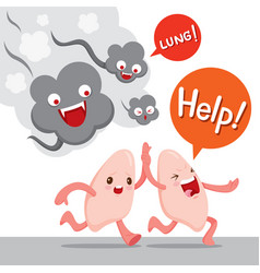 Lungs run away from smoke cartoon character vector