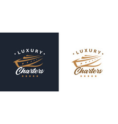 Luxury yacht charters logo icon concept vector