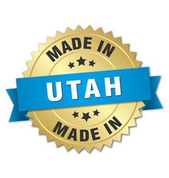 Made in utah gold badge with blue ribbon vector