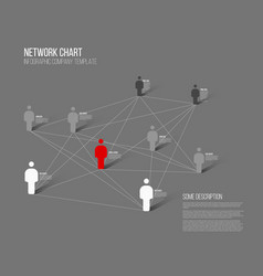 minimalist network 3d chart vector image