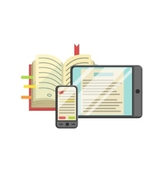 Modern Learning With Book Smartphone And Tablet vector image