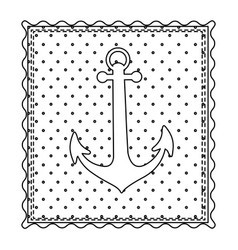 Monochrome contour frame of anchor with background vector