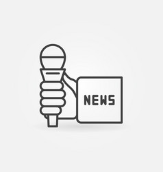 News microphone in hand concept linear icon vector