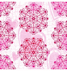 Pink seamless grunge valentine pattern vector image