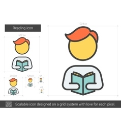 Reading line icon vector