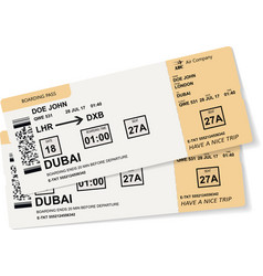 realistic airline ticket or boarding pass design vector image