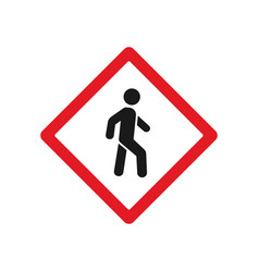 Red pedestrian crossing sign vector