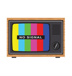 retro tv with antenna no signal vector image