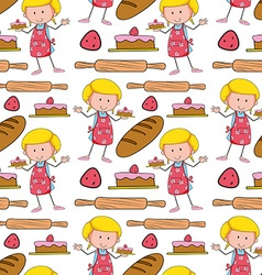 Seamless background with baker and cake vector