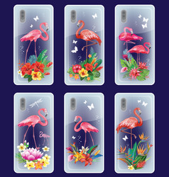 Set mobile phone covers design with flamingoes vector