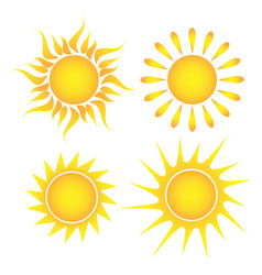 set of suns on a white background vector image