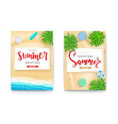 set summer sale posters for touristic events vector image