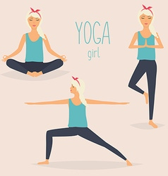 Set with woman in various poses of yoga Healthy vector
