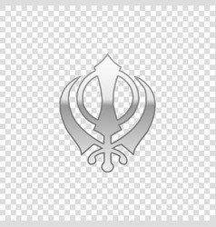 Silver sikhism religion khanda symbol isolated vector