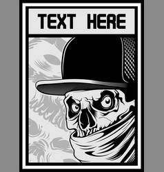 skull wearing hat and bandana vector image