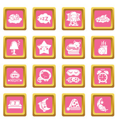 Sleeping icons set pink square vector