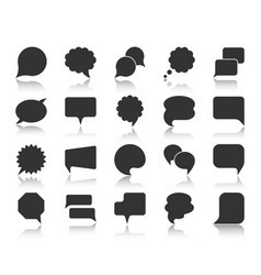 speech bubble black silhouette icons set vector image