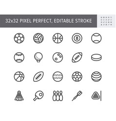 sport balls line icons vector image