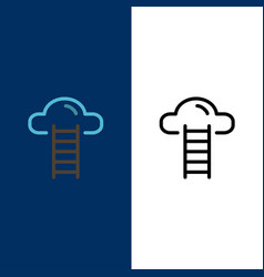 Stair cloud user interface icons flat and line vector