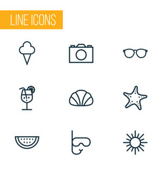 sun outline icons set collection of melon vector image