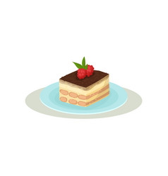 tiramisu with coffee glaze and two raspberries on vector image