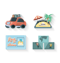 travel vacations set icons vector image