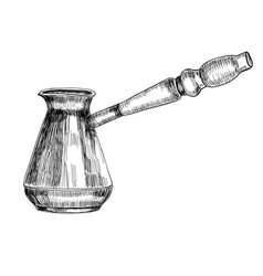 Turkish coffee maker cezve hand drawn sketch vector