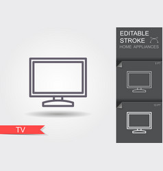 tv line icon with editable stroke with shadow vector image