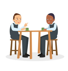Two guys talk and discuss on cafe vector