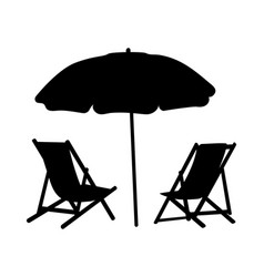 Two lounge chairs under an umbrella on beach vector