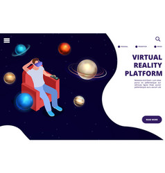 virtual reality space travel isometric vector image