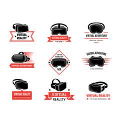 vr helmet logo badges set for gamers future vector image