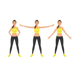 Warming-up fit pretty woman in yellow crop top and vector