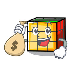 With money bag rubik cube character cartoon vector