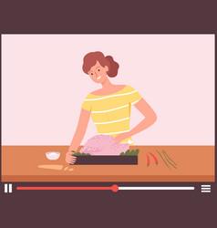 woman cook turkey thanksgiving dinner online vector image