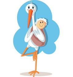 Yoga stork carrying ba cartoon vector