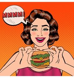 Young Woman Eating Hamburger Pop Art vector