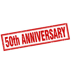 50th anniversary square stamp vector