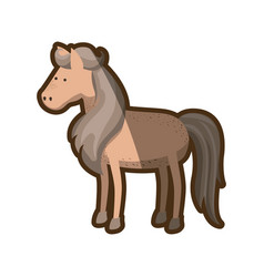 Brown clear silhouette of horse with mane and tail vector