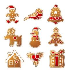 Gingerbread christmas set vector