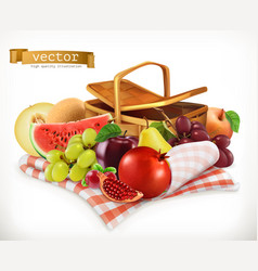harvest fruits and berries pomegranate apple pear vector image