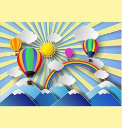 hot air balloon over mountian vector image vector image