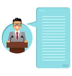 Professor or businessman on tribune vector image vector image