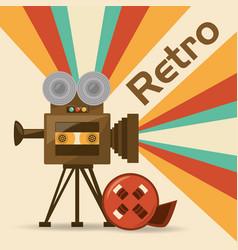 retro video camera short film vector image vector image