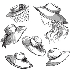 Set of hats vector image vector image