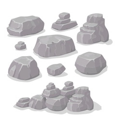 Set of stones rock elements different shapes vector image vector image