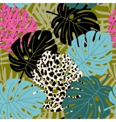 Tropical palm and monstera leaf seamless pattern vector image vector image