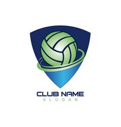 volleyball shield logo vector image