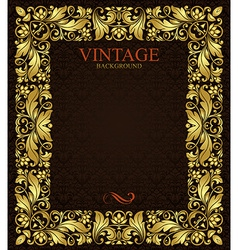 Ornate gold frame vector image vector image