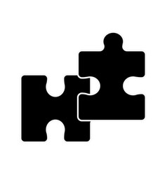 silhouette piece puzzle mental game line icon vector image vector image